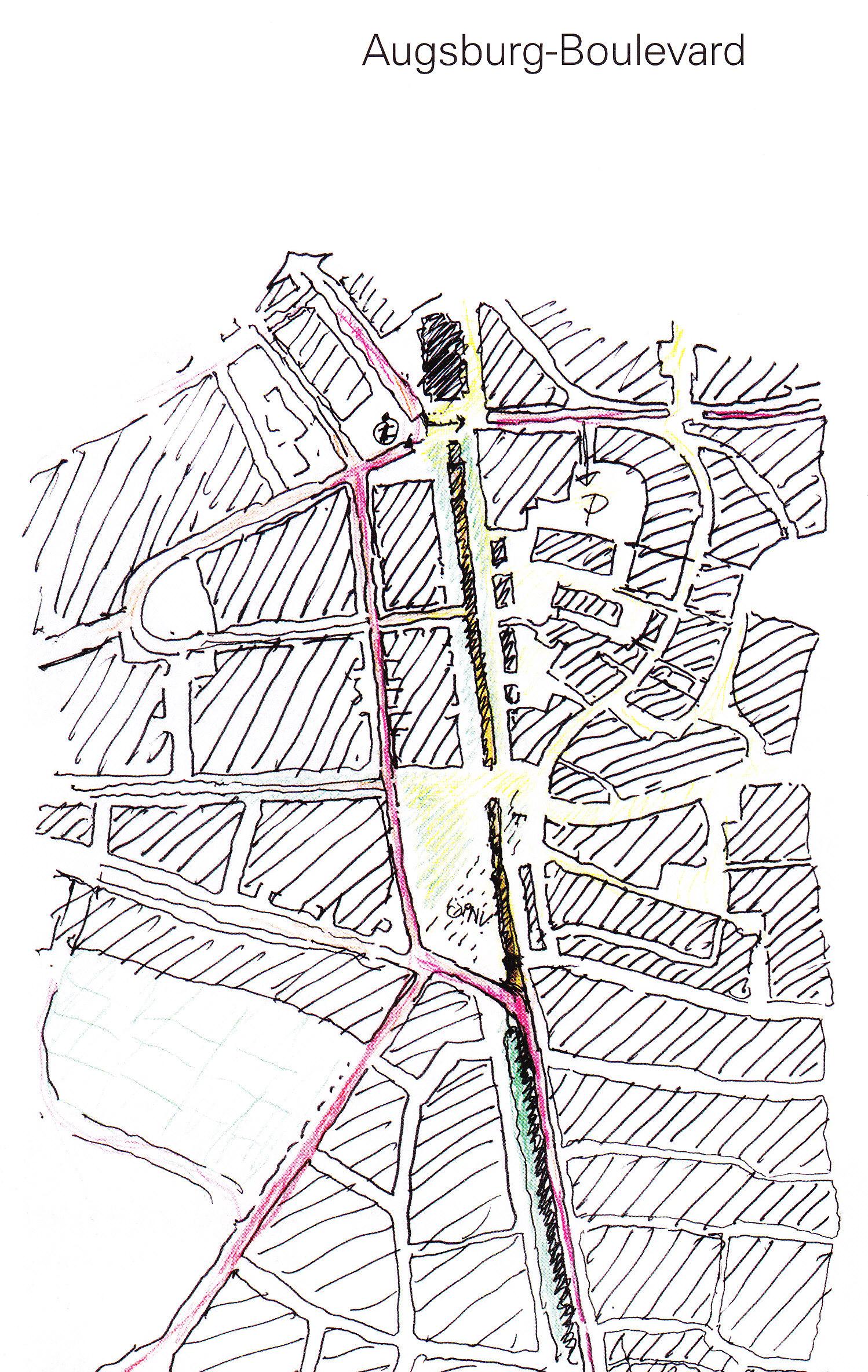 Skizze aus der Planerwerkstatt Nov. 2011 (Augsburg-Boulevard)