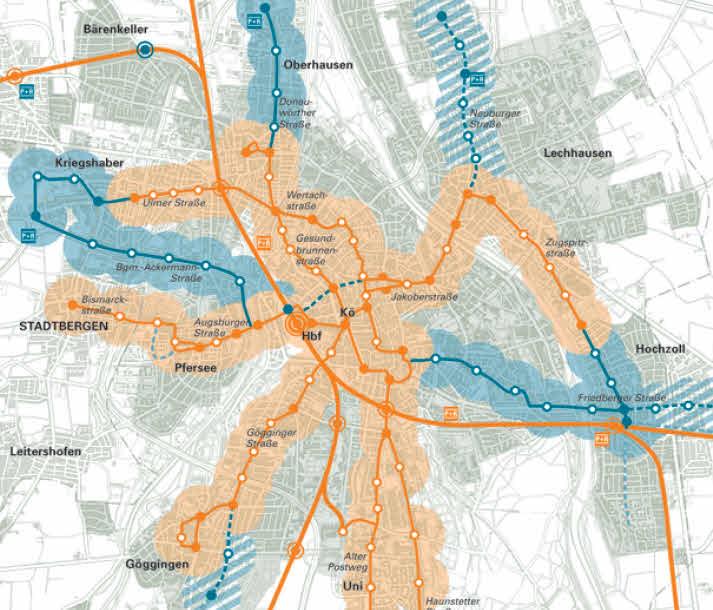 Bisheriger Gesamtverkehrsplan der Stadt Augsburg Stand 1996