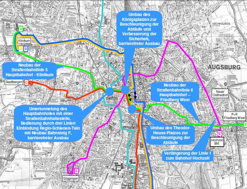 Straßenbahnliniennetz der Mobilitätsdrehscheibe (SWA)