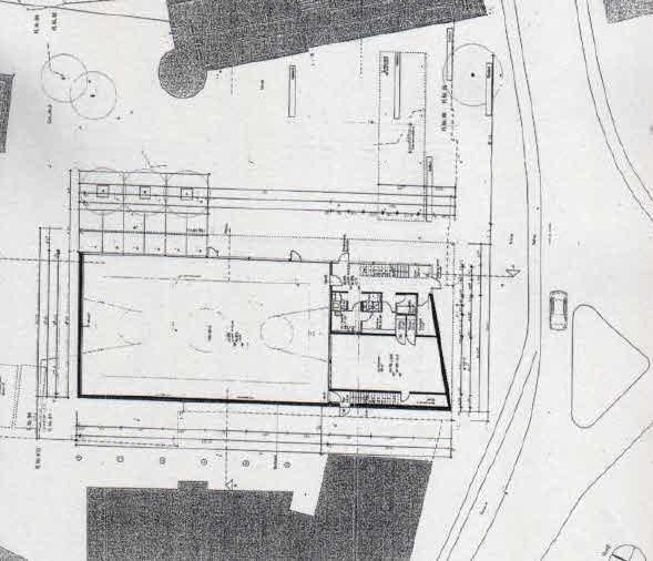 """Grundriss Turnhalle als nördliche Platzwand zum """"Oberhauser Dorfplatz""""!"""