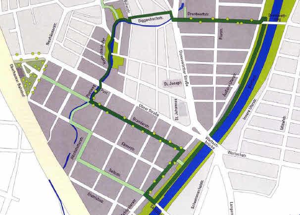 Teilrealisierter Plan des Grünen Rundwegs Oberhausen