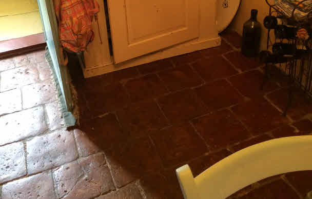 Alter Ziegelboden in Andrea´s Küche