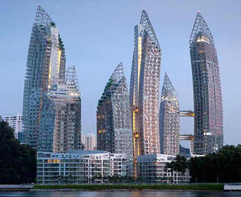 Häuserblocks in der Bucht von Singapur