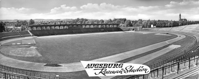 Der Stolz Augsburgs: Das Rosenaustadion diente sogar als Postkartenmotiv (um 1951)