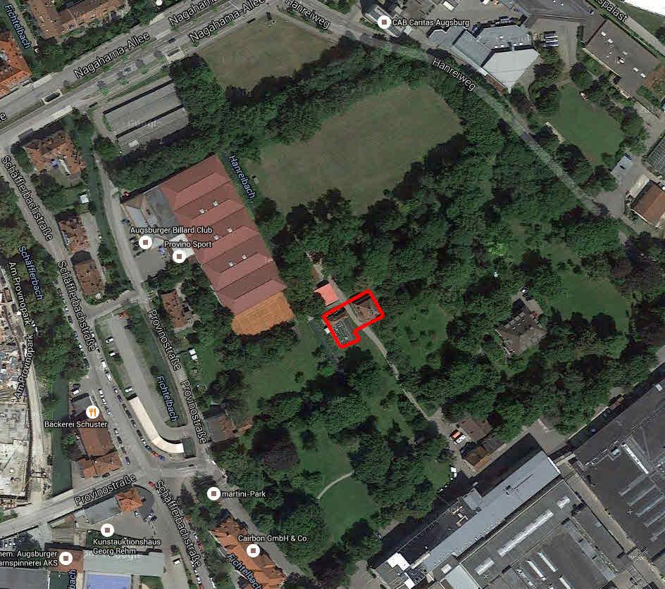 Luftbild mit roter Umrandung des Gärtnerhausensembles